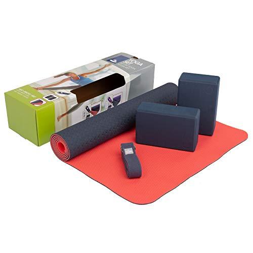 Bodhi Yoga-Set Flow, 1 Yogamatte aus TPE, 2 Yoga-Bricks aus Eva (Moosgummi), 1 Yoga-Gurt aus Baumwolle, Einsteiger-Set...